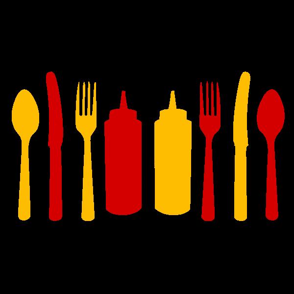 cubiertos y ketchup