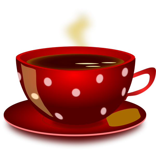 Red spotty tea cup with saucer and cookie vector clip art