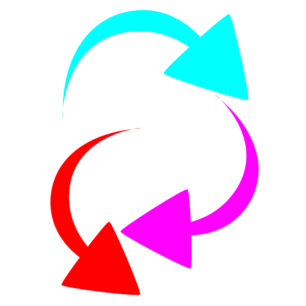 Vector drawing of selection of curved color arrows