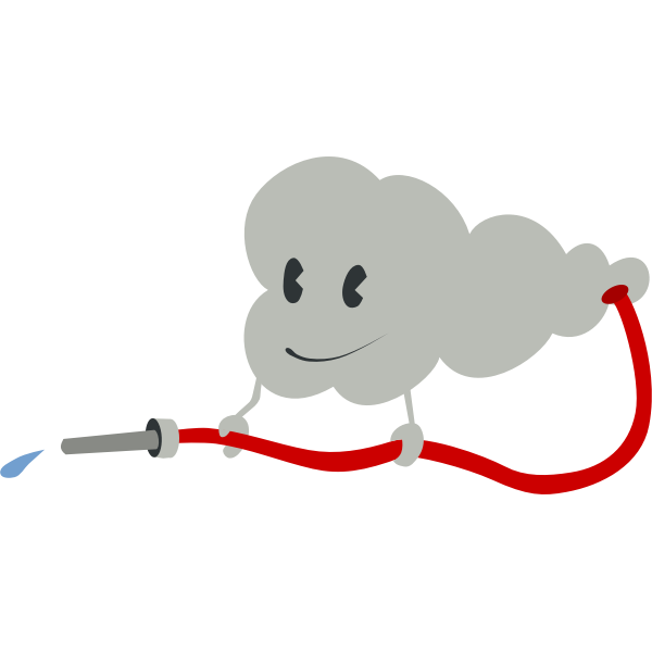 Cloud watering with hose vector illustration