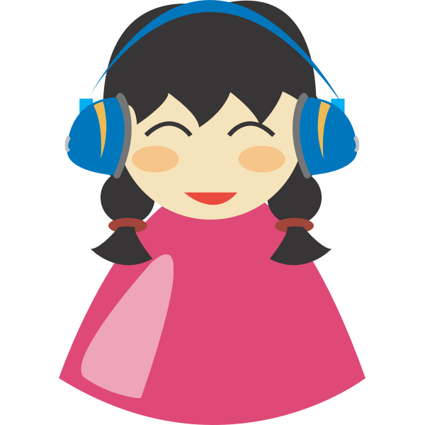Cute girl with headphone vector image