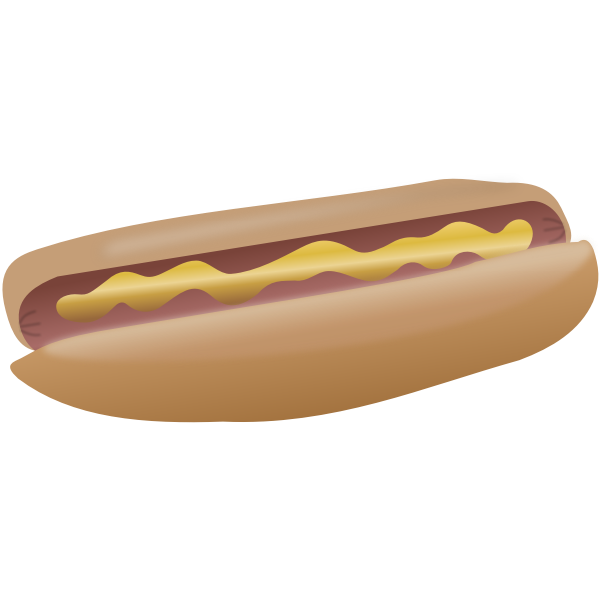 Hot dog with mustard vector clip art