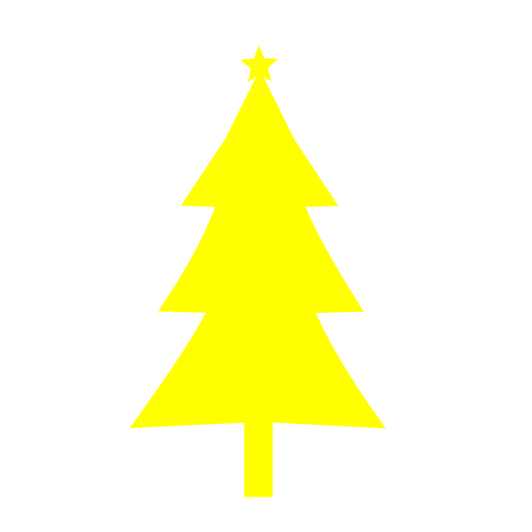 Christmas tree yellow color silhouette