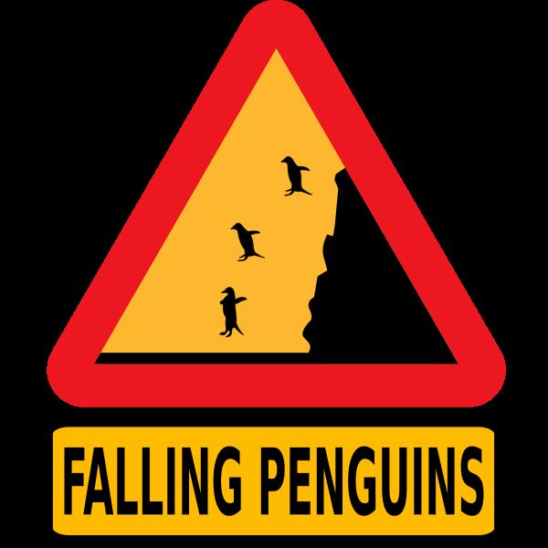 Falling penguins warning