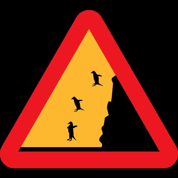 Falling penguins warning image