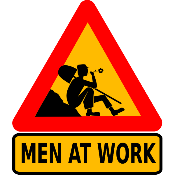 Men at work roadsign vector image