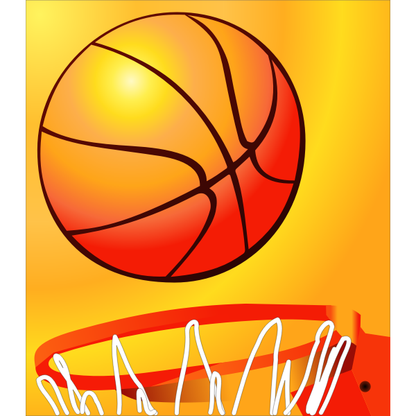 Basketball about to enter a basketball hoop vector image