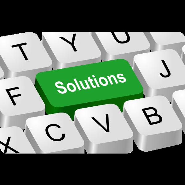 Solutions button vector illustration