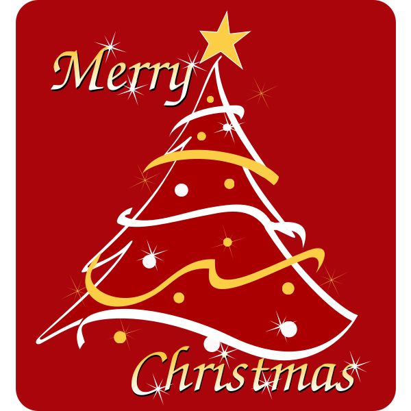 Red and gold Christmas tree greeting card vector image