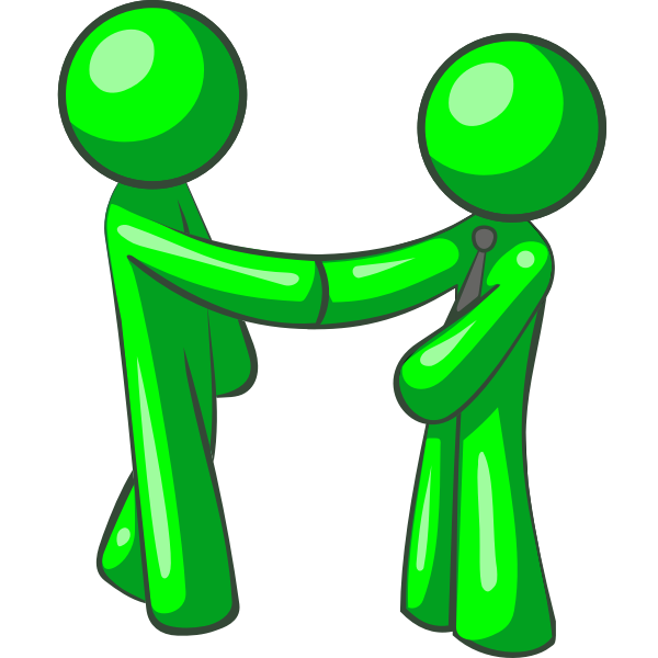 Green human figures pointing hands at each other