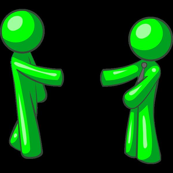 Vector illustration of green figures shaking hands