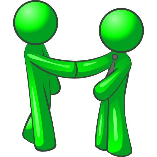 Vector graphics of two green figures