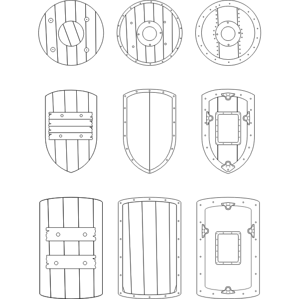 Vector graphics of selection of medieval shields