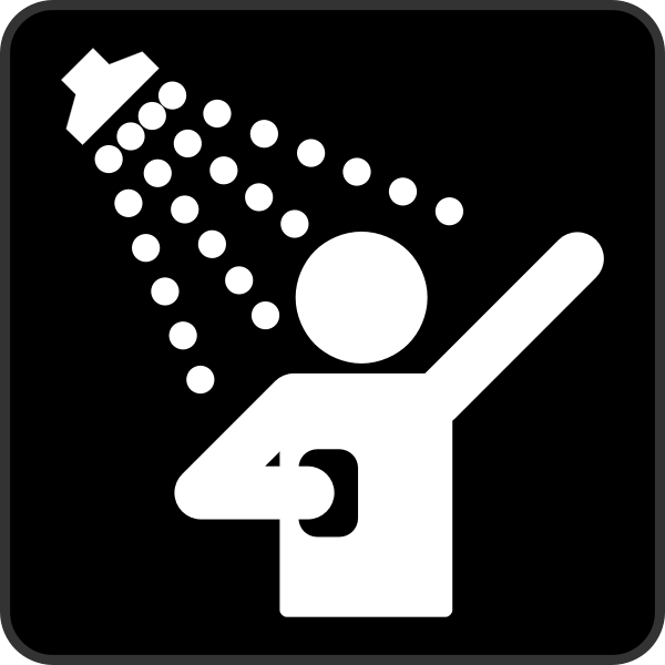 AIGA shower cabin sign inverted vector graphics