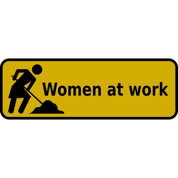 Vector illustration of women at work sign
