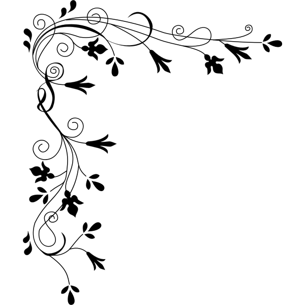 Vector graphics of floral corner border decoration