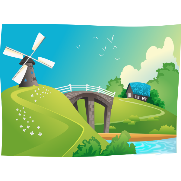 Windmill in landscape vector graphics