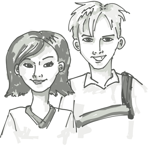 Two smiling youths vector painting