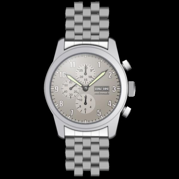Metal wristwatch vector graphics