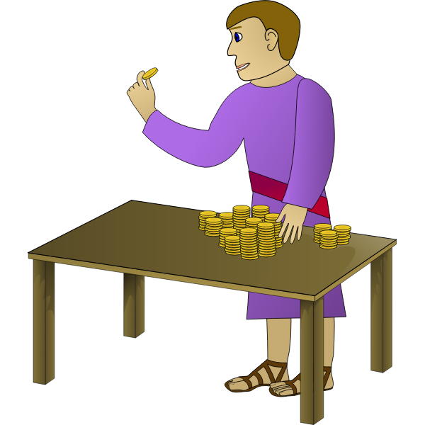 Vector image of man with coins