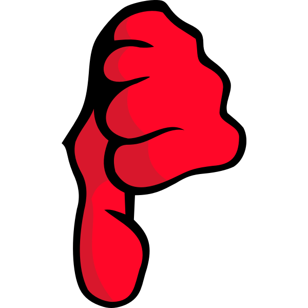Vector clip art of red fist thumbs down