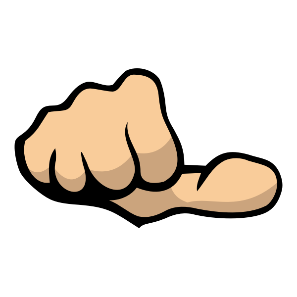 Color vector illustration of fist showing thumb sideways