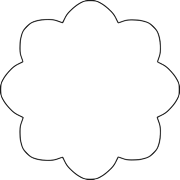 Vector image of 8 scallop outline flower