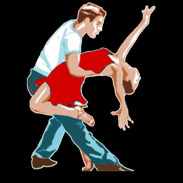 Dancing couple in a dance move vector clip art