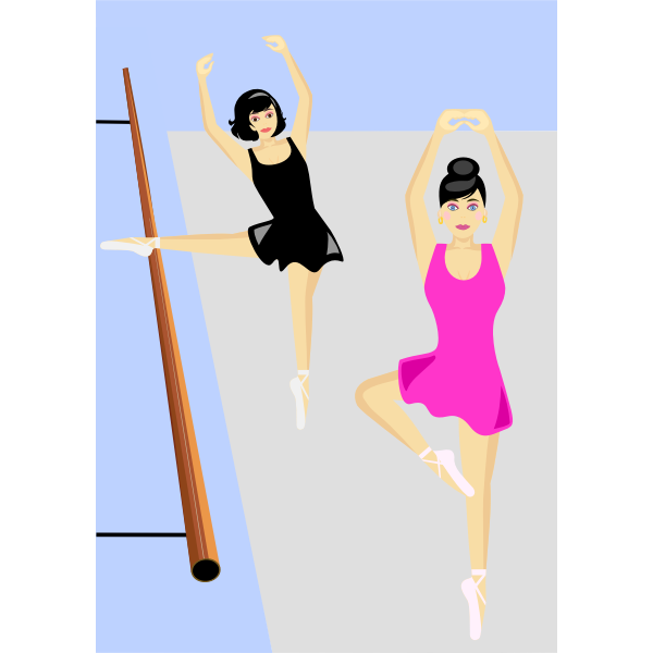 Vector drawing of women at dance practice