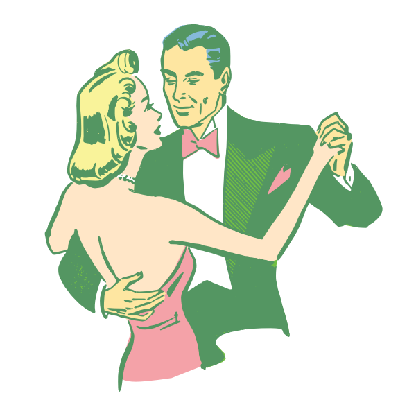 Vector graphics of vintage dancing couple