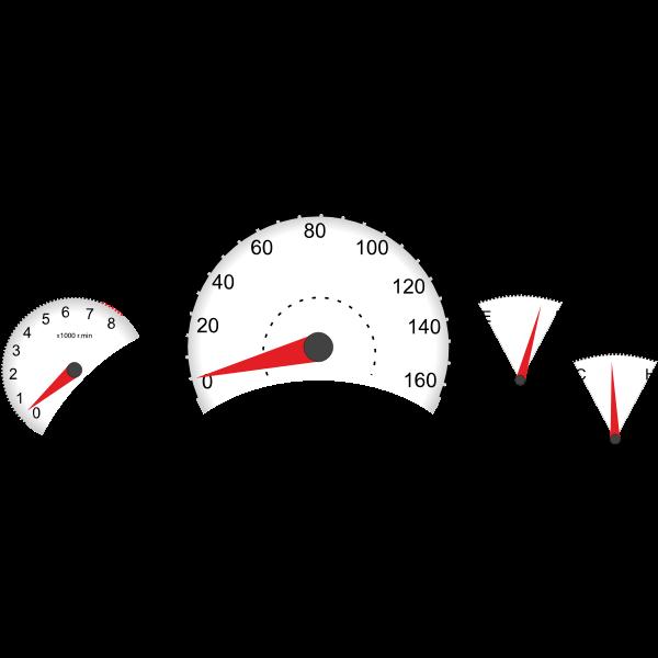 Vector illustration of car dashboard instruments