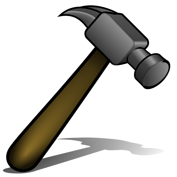 Vector graphics of brown handle hammer with shadow