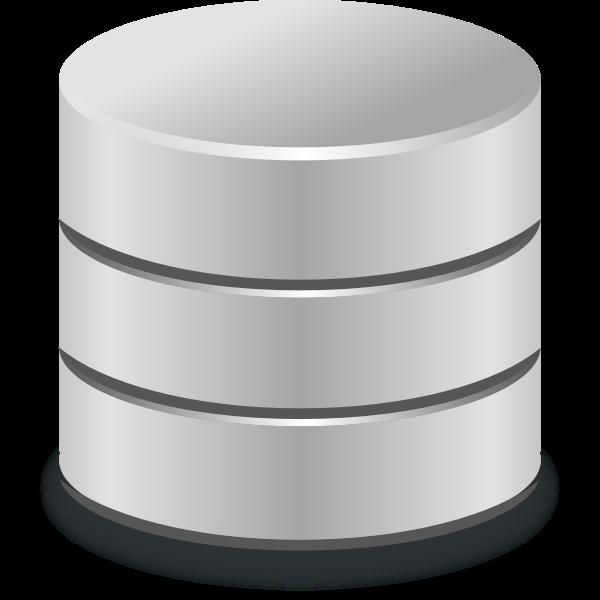 Metallic database icon vector drawing