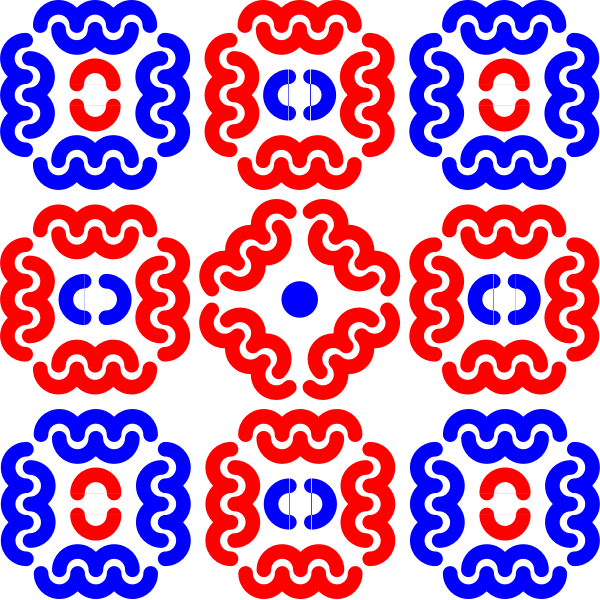 Vector image of blue and red tiles decoration