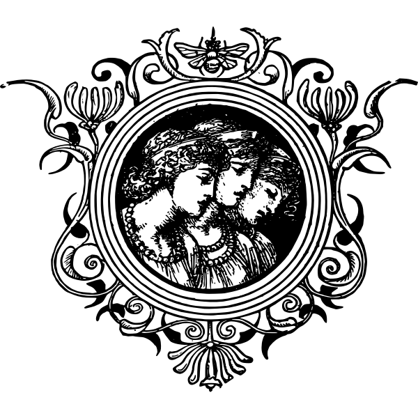 Vector illustration of black centre women decoration