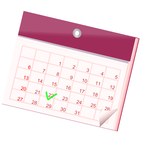 Vector image of month calendar pink color icon