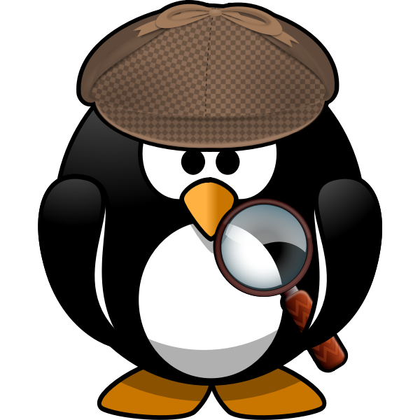 Vector drawing of search penguin