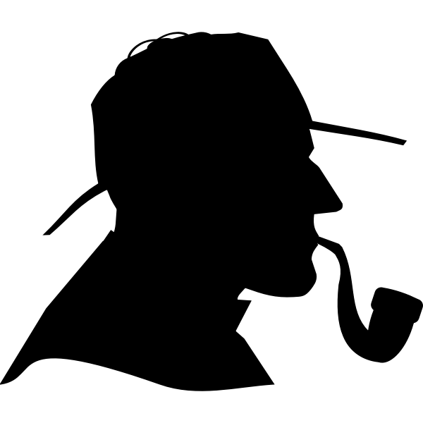 Detective profile silhouette vector image