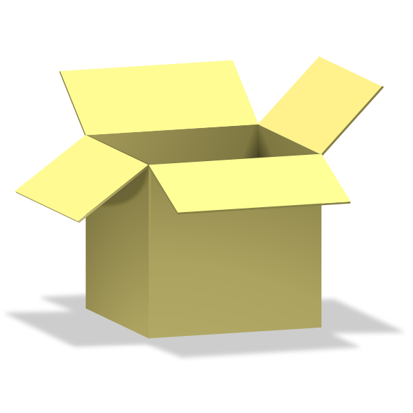 Vector image of opened yellow carton box
