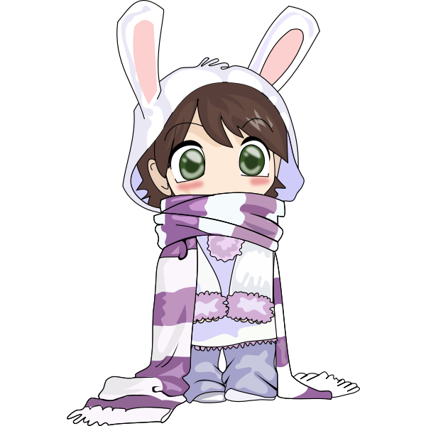 Usagi child in winter clothes vector drawing