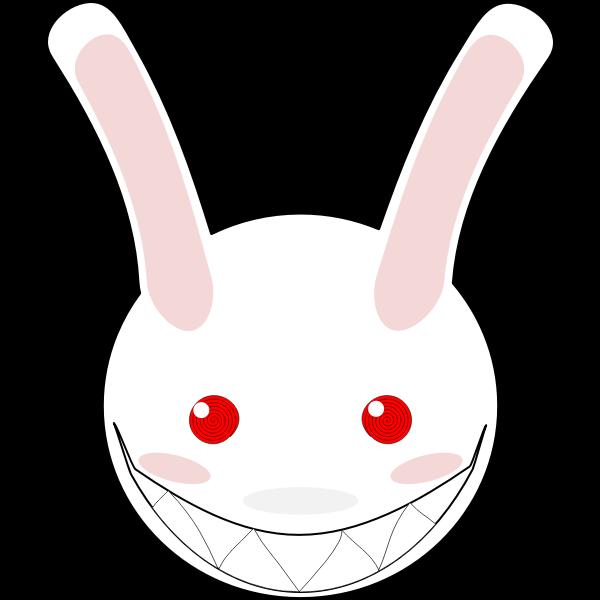 Vector clip art of mad rabbit smile