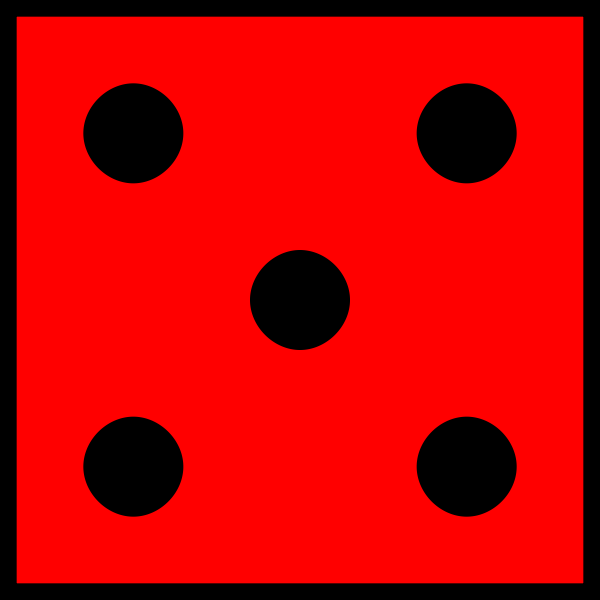 Five red dots on red background