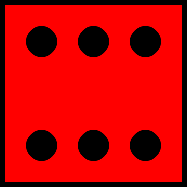 Six dots on red background