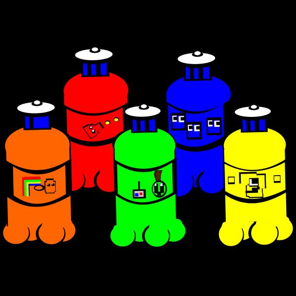 Vector illustration of five plastic water bottles