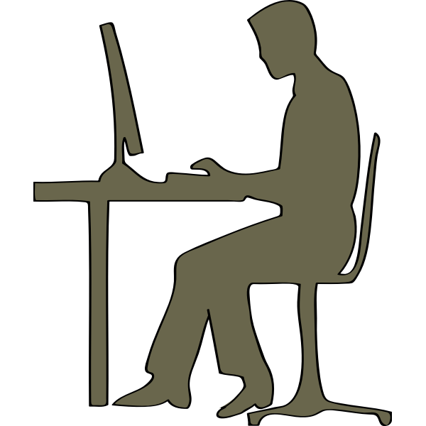 Silhouette of man sitting at computer desk vector clip art