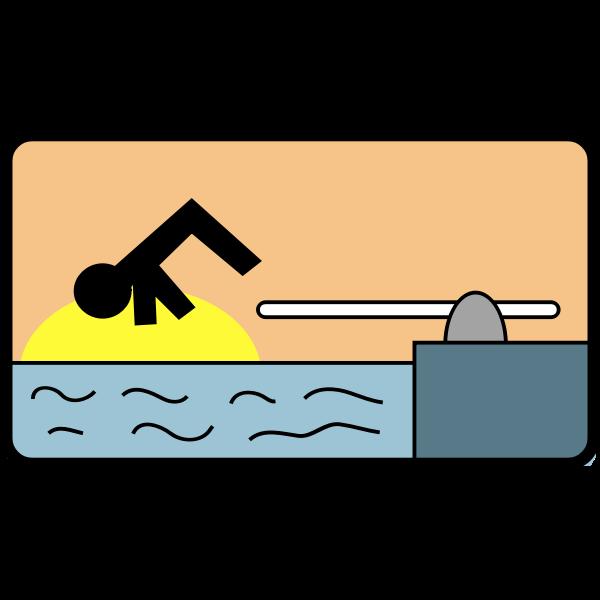 Diving man vector drawing