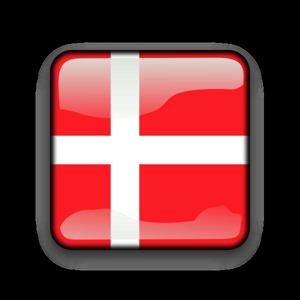 Denmark flag inside glossy label