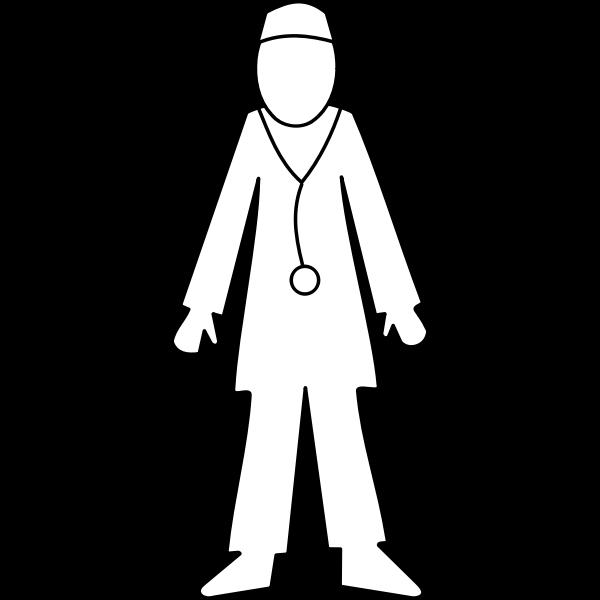 Doctor line art vector illustration