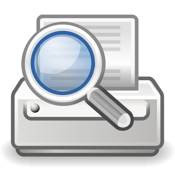Vector image of search printer computer OS icon