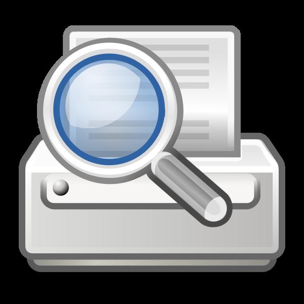 Vector image of search printer computer OS icon